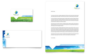 Green Living & Recycling - Business Card & Letterhead Template Design Sample