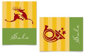 Christmas Reindeer & Trumpet - Sale Poster Template
