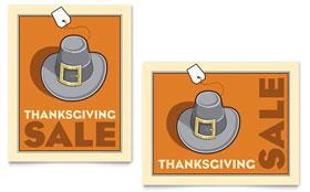 Thanksgiving Pilgrim - Poster Sample Template