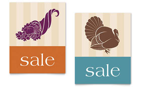 Thanksgiving Cornucopia & Turkey - Sale Poster Template