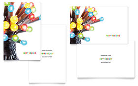 Christmas Lights - Greeting Card Template