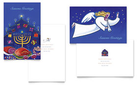 Holiday Seasons Menorah - Greeting Card Template Design Sample