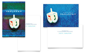 Hanukkah Dreidel - Greeting Card Template