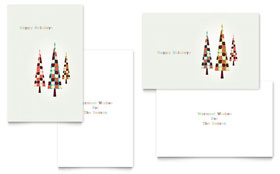 Modern Holiday Trees - Greeting Card Template Design Sample