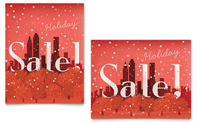 Cityscape Winter Holiday - Sale Poster