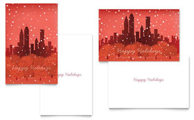 Cityscape Winter Holiday - Greeting Card Template