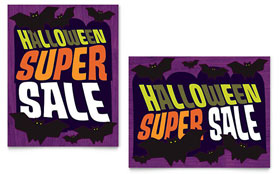 Halloween Bats - Sale Poster Template