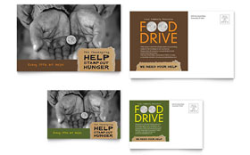 Holiday Food Drive Fundraiser - Postcard Template Design Sample