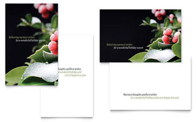 Holly Leaves - Greeting Card Template Design Sample