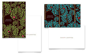 Stylish Holiday Trees - Greeting Card Template Design Sample