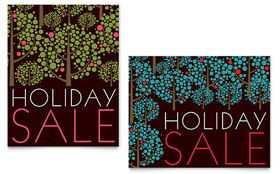 Stylish Holiday Trees - Sale Poster Template Design Sample