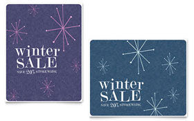 Snowflake Wishes - Sale Poster Template Design Sample