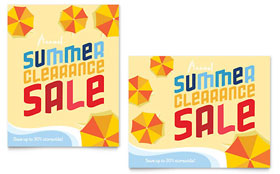 Summer Beach - Sale Poster Template Design Sample