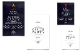Office Holiday Party - Note Card Template Design Sample