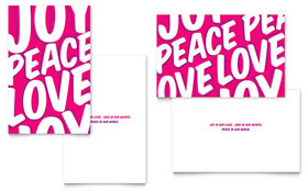 Peace Love Joy - Greeting Card Sample Template