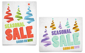 Snow Trees - Sale Poster Template Design Sample