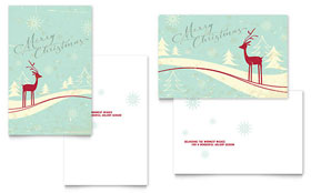 Antique Deer - Greeting Card Template Design Sample