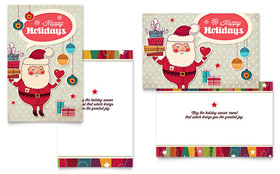 Retro Santa - Greeting Card Template