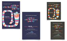 Christmas Party - Note Card Template Design Sample