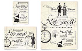 Vintage New Year's Party - Flyer Template Design Sample