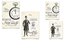 Vintage New Year's Party - Note Card Template