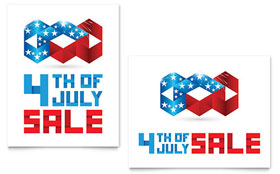 July 4th Patriotic - Sale Poster Template Design Sample